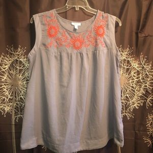 LIZ LANGE MATERNITY Floral Sleeveless Blouse Top L